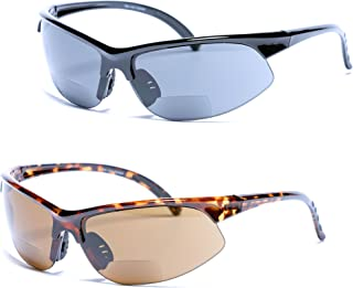 2 Pair of Polarized Bifocal Sunglasses Sport Wrap Sunglasses for Men and Women