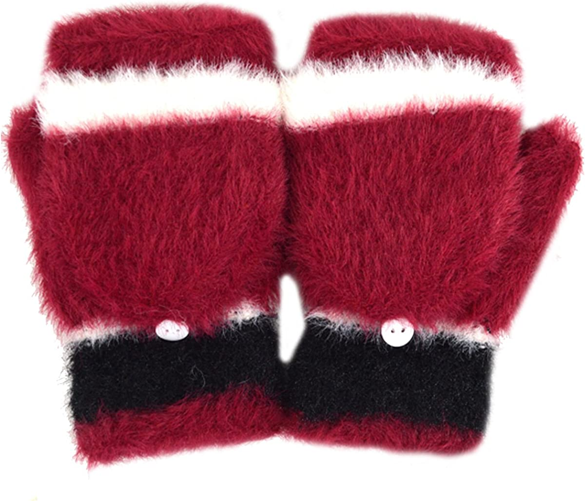CLARA Women Cute Plush Faux Fur Mittens Half Finger Gloves Flip Top Convertible Mitts
