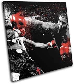 Bold Bloc Design - Mike Tyson Boxer Red Gloves Boxing Sports 40x40cm Single Canvas Art Print Box Framed Picture Wall Hanging - Hand Made in The UK - Framed and Ready to Hang RC-0784(00B)-SG11-LO-A