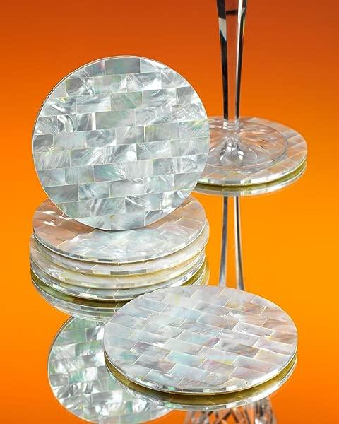 海洋白色珍珠母圆形饮料杯垫一套 2 个杯垫