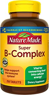 Nature Made Super B-Complex Tablets with Vitamin C, 250 Count for Metabolic Health† (Packaging...