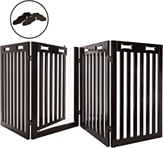 "Arf Pets Free Standing Wood Dog Gate with Walk Through Door, Expands Up to 80"" Wide, 31.5"" High - Bonus Set of Foot Supporters"