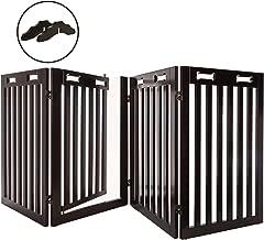 Arf Pets Free Standing Wood Dog Gate with Walk Through Door, Expandsup to 80