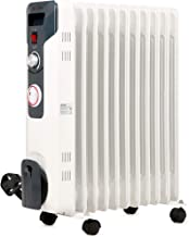 NETTA 2500W Oil Filled Radiator With Thermostat and 24 Hour Timer,Electric Portable Free Standing Energy Efficient Heater, 3 Power Settings - 11 Fin