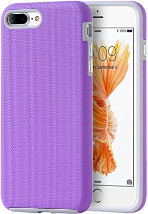 DreamWireless Funda Doble Protector de Uso Rudo Antideslizante con Botones para iPhone 7 Plus/iPhone 8 Plus, Color Morado