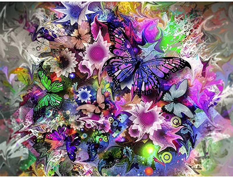 Yeefant Butterfly Embroidery Paintings No Fading 5D Canvas Rhinestone Pasted Pasted DIY Diamond Cross Stitch Home Wall Decor For Bedroom Living Room 12x16 Inch