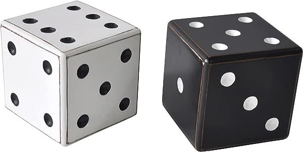 Deco 79 56917 Wooden Dice Table Decor Set Of 2 White Black