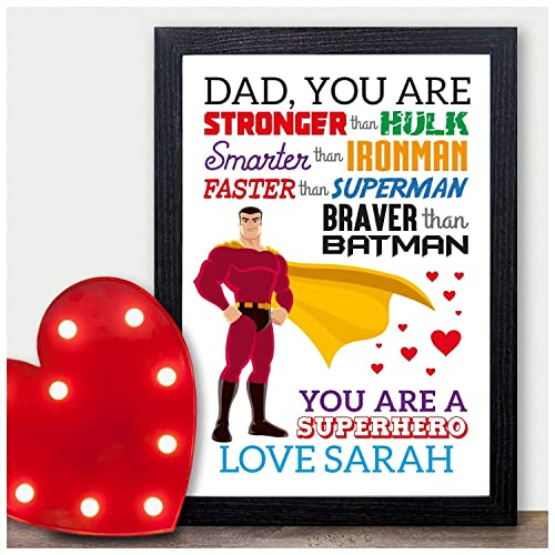DADDY GRANDAD GIFT CHRISTMAS SUPERHERO Birthday UNCLE DAD Personalised Print