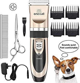 oneisall Dog Shaver Clippers Low Noise Rechargeable Cordless Electric Quiet Hair Clippers Set for Dogs Cats Pets