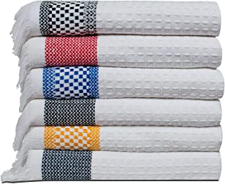 Bliss Casa 6 Pack Tea Towels, Kitchen Towels - Cotton Dish Cloths, Bar Towels for Daily Use (Multi-Color)