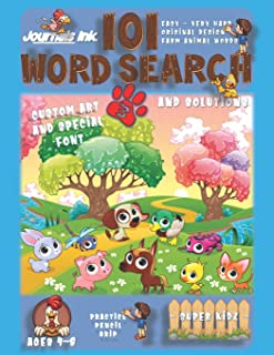 101 Word Search for Kids 3: SUPER KIDZ Book. Children - Ages 4-8 (US Edition). Baby Friends. Farm Animals Words with custo...
