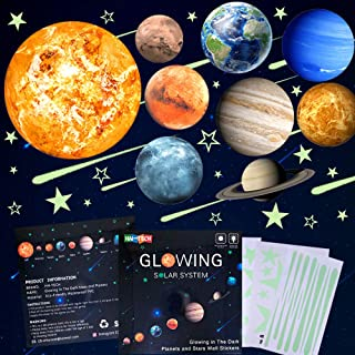 48pcs Glow in The Dark Stars and Planets Wall Stickers 9pcs with 28pcs stars and 10pcs shooting stars ,Bright Solar System Wall Stickers, Glowing Planets Wall Decals for Kids Bedroom Living Room, Purple