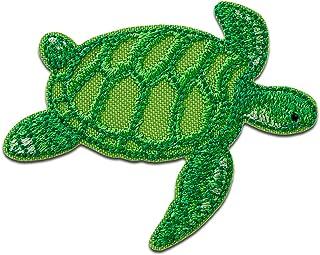 Recycl Patch Tortuga Animal Agua Think Green - Parches termoadhesivos bordados aplique para ropa, tamaño: 5,4 x 6,5 cm