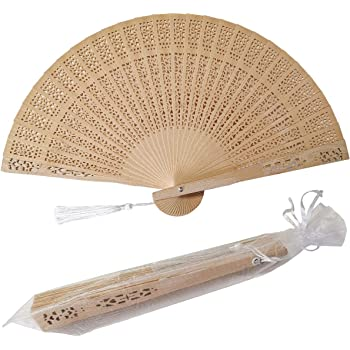 Vintage Wooden Hand Fan Foldable Sakura Flower Fan Birthday Wedding Gift