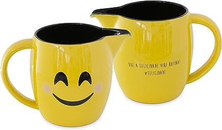 Leiteira Mondoceram Amarelo 18,5 x 11,3 x 12,1 cm