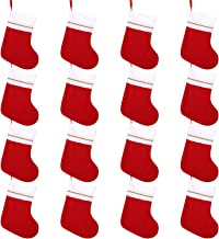Cooraby 16 Pack Red Felt Christmas Stockings 9 Inches Xmas Fireplace Hanging Stockings Holiday Decorations Stockings for C...