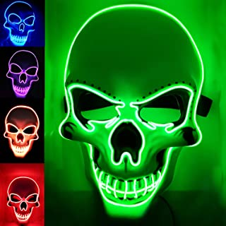 GDOULW Halloween Mask LED Halloween Horror Mask - Halloween Scary Cosplay Light Mask Light Scary Death Skull Mask Cosplay Decoration Clothing mask EL line Lights (led mask Green)