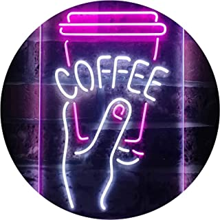 Hold a Coffee Shop Dual Color LED Neon Sign White & Purple 210 x 300mm st6s23-i3473-wp