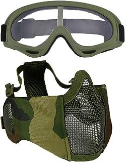 Fansport Máscara de Malla de Acero Media Mascarilla Protección de Oreja Ajustable Máscara Airsoft con Gafas de Exterior