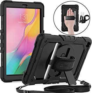 Galaxy Tab A 10.1 (T510/T515) 2019 Case, SEYMAC Heavy Duty Shockproof Case with 360 Roating Stand/Hand Strap/Shoulder Strap/Screen Protector for Samsung Tab A 10.1 SM-T510/SM-T515 (Black)