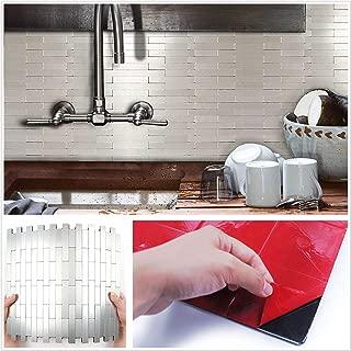 HomeyMosai Subway Stripe Puzzle Peel and Stick Tile Metal Backsplash Stick on Kitchen Bathroom Stove Walls Decor Aluminum Surface Metal Smart Tiles 3D Wall Sticker(12