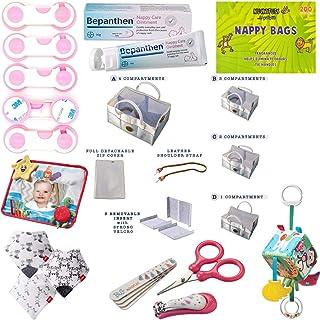 Hananee Newborn Essential Basket Caddy Organiser Diaper Felt, Safety Locks, Nail Care, Bibs, Tummy Time Mirror, Activity C...