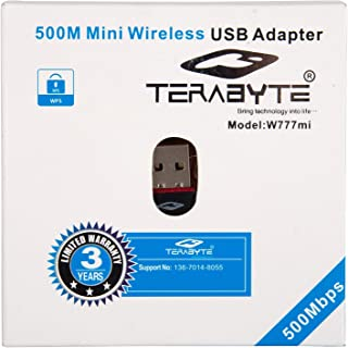 Terabyte Mini 2.4Ghz Wireless WiFi Dongle 500Mbps 802.11n USB Connector (Black)