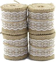 PIXNOR 2M 6Cm Hessian Jute Lace Craft Ribbon Roll For Crafts Home Wedding Decor Pack Of 4