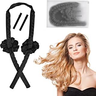 Heatless Curling Rod Headband, No Heat Hair Curler with Hair Clips and Scrunchie, Heatless Curling Silk Ribbon for Long Ha...