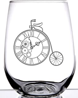 IE Laserware Steampunk Bicycle Laser Etched Engraved Wine Glass, 17 Ounce Stemless Wine Glass