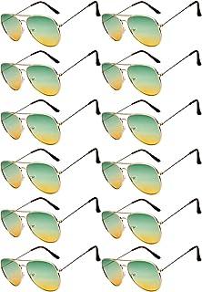 12 قطعة نظارات شمسية الطيار بالجملة بدرجتين من لون العدسة الذهبي إطار معدني