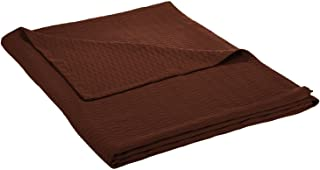 Superior 100% Cotton Thermal Blanket, Soft and Breathable Cotton for All Seasons, Bed Blanket and Oversized Throw Blanket with Luxurious Diamond Weave - Full/Queen Size, Chocolate