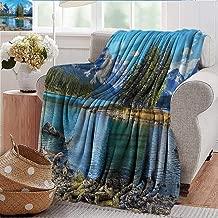 Xaviera Doherty Fuzzy Blanket Mountain,Maligne Lake West Canada Flannel Blankets Made with Plush Microfiber 50