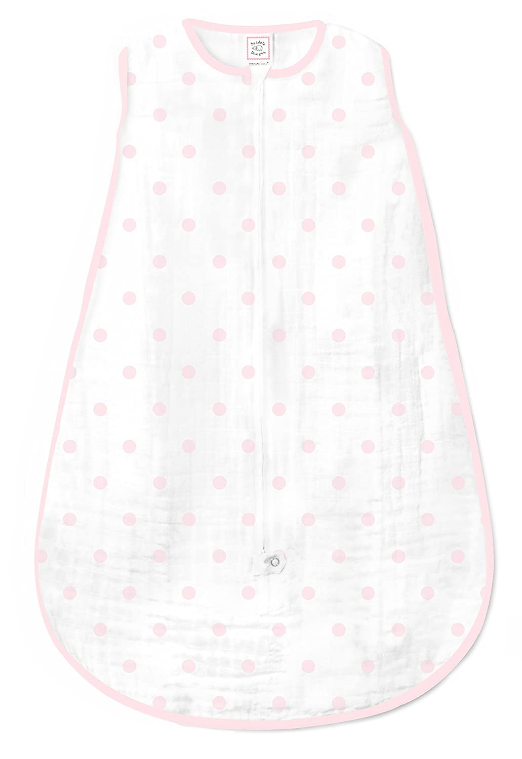 Pink Tiny Triangle Shimmer Small 0-6 Months SwaddleDesigns Cotton Sleeping Sack with 2-Way Zipper