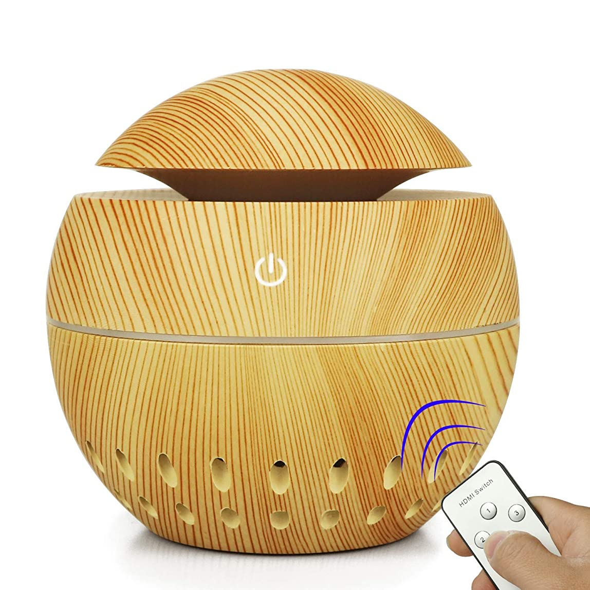 言語ガレージ醜い加湿器USBウッドグレイン中空加湿器きのこ総本店小型家電 (Color : Brass, Size : 100MM*105MM)