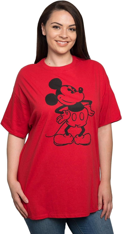 Disney Womens Plus Size T-Shirt Mickey Mouse Print 100% Cotton