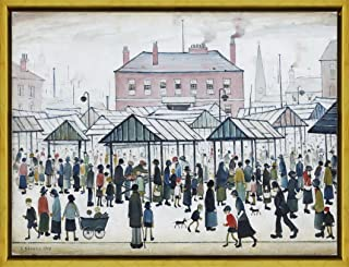 Berkin Arts Framed L.S. Lowry Giclee Canvas Print Paintings Poster Reproduction(Market Scene)