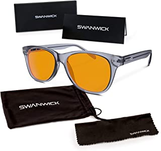 Swannies Premium Blue Light Blocking Glasses for Better Sleep and Eye Strain Relief for Computer Games, Reading or TV Screens - (Smoky Quartz) Regular