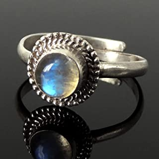 Natural Moonstone Ring, June Birthstone, Handmade in Nepal, Bezel Midi Ring, Stackable, Women's Bohemian Jewelry, Adjustable Sterling Silver Non-allergenic 925 Purity