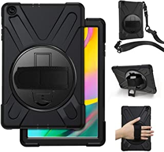 Samsung Galaxy Tab A 10.1 Case 2019,SM-T515/T510 Case with Hand Strap,Herize Heavy Duty Full-Body Rugged Protective Shockproof Case Cover W/ 360 Degree Rotatable Stand,Shoulder Strap for Kids,Black