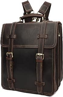 Men's Retro Leather Backpack Computer Laptop Rucksack College Backpack XFGBTJKYAUu (Color : Brown, Size : M)