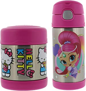 Thermos FUNtainer Vacuum Insulated Stainless Steel 10oz Food Jar & 12oz Water Bottle w/Straw Set - Tasteless and Odorless, BPA Free, Great for Children, Lunchbag, Travel-Hello Kitty & Shimmer Shine