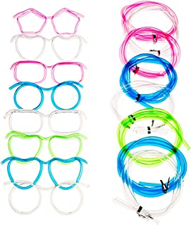Bar Party Favors Wedding 8Pack Eye Glasses Drinking Straws Funny Party Supplies Straw Glasses Tube Sets for Kids Adults Birthday Anniversary