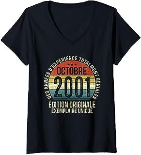 Femme 20 Ans Anniversaire Femme Homme Fabriqué en Octobre 2001 T-Shirt avec Col en V