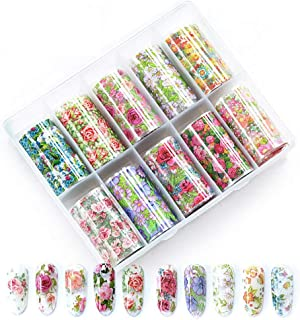 WOKOTO 10 Rolls Nail Art Foil Transfer Stickers Tips Flower Design Nail Wraps Decals Set Starry Sky Manicure Accessories (...