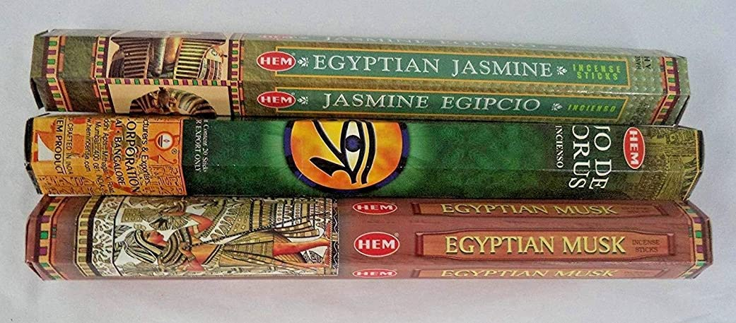 光沢のある貫通する保育園Hem Egyptian IncenseサンプラーEgyptian Musk?–?エジプトジャスミン?–?ホルスの目、合計60?Sticks