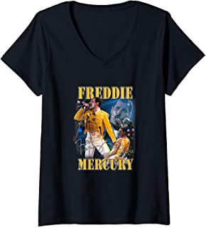 Womens Freddie Mercury Official Live Homage Champion V-Neck T-Shirt