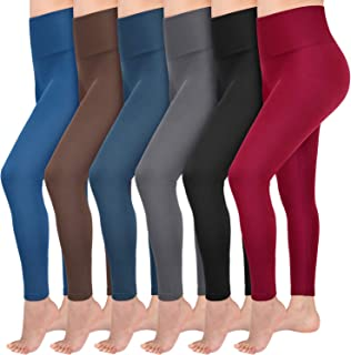 6 Pack Fleece Lined Leggings Women High Waist Soft...