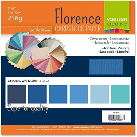 Vaessen creative 2923-101 Papier Scrapbook Florence 216g 6x6 inches-Multipack de 24 Feuilles Bleu, Multicolore, 15 x 15 x 0,8 cm