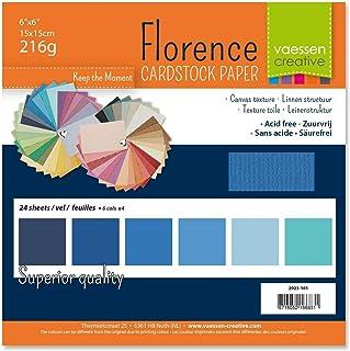 Vaessen creative 2923-101 Papier Scrapbook Florence 216g 6x6 inches-Multipack de 24 Feuilles Bleu, Multicolore, 15 x 15 x...